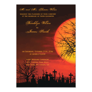 Custom Halloween Wedding Invitations Night
