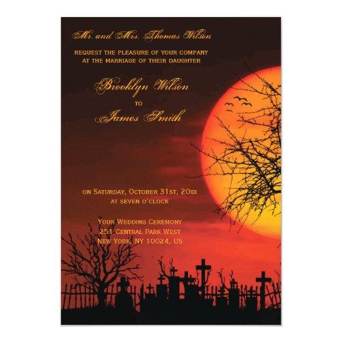 Custom Halloween Wedding Invitations Night