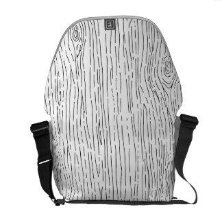 Custom Hand Drawn Rustic Wood Grain Messenger Bag