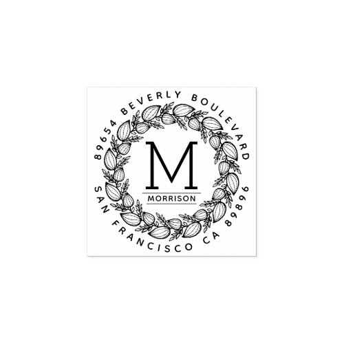 Custom Hand_drawn Wreath  Monogram Return Address Rubber Stamp