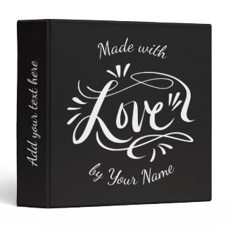Custom hand lettered kitchen recipe binder book