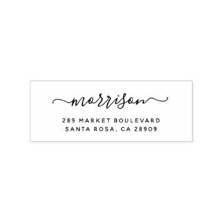 Custom Hand-written Family Name & Return Address Rubber Stamp