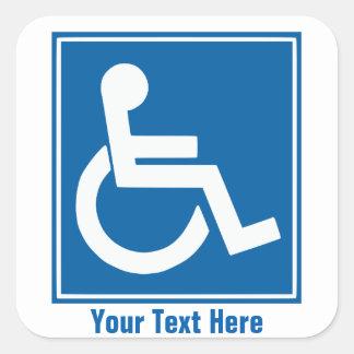 Custom Handicap Sign Stickers/Labels Square Sticker