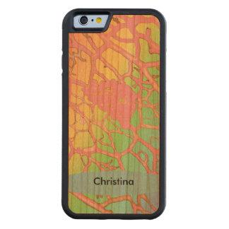 Custom Handmade Leaf Veins Pattern Pink Mint Aqua Carved® Cherry iPhone 6 Bumper