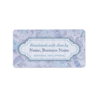 Custom Handmade with Love Labels Floral Purple