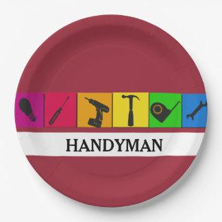 Custom Handyman Colored Repair Carpenter Tools Paper Plate