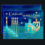 "Custom Hanukkah Celebration Party Invitations<br><div class=""desc"">Celebrate Hanukkah! Elegant Festive Star of David,  Menorah and Dreidels Design Hannukah Celebration Party / Dinner Invitations with a personalized text. Matching cards,  postage stamps and other products available in the Jewish Holidays / Hanukkah Category of our store.</div>"