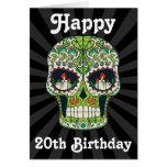 Custom Happy 20th Birthday Sugar Skull Card at Zazzle