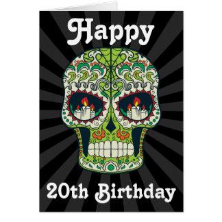 Custom Happy 20th Birthday Sugar Skull Card