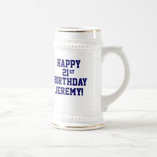 Custom Happy 21st Birthday Beer Stein 18 Oz Beer Stein