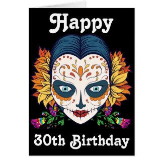 Custom Happy 30th Birthday Sugar Skull Card