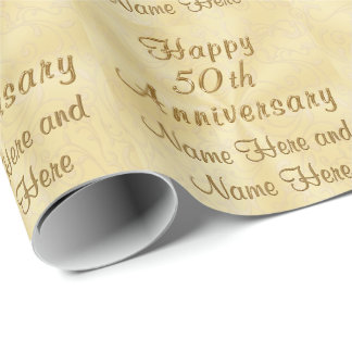 Custom Happy 50th Anniversary Wrapping Paper