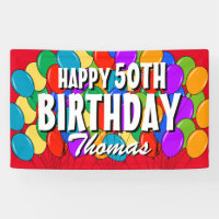 Custom Happy 50th Birthday balloons party banner