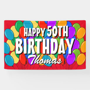 Happy 50th birthday banners signs zazzle custom happy 50th birthday balloons party banner publicscrutiny Image collections