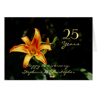 Custom Happy Anniversary Orange and Yellow Daylily Card