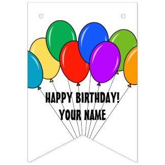 Custom Happy Birthday balloon party bunting banner flag