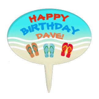 Custom Happy Birthday Beach Party Cake Topper