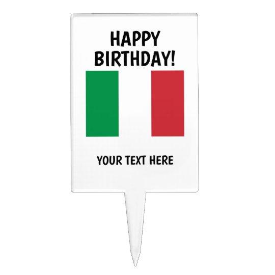 Custom Happy Birthday Italian Flag Cake Topper