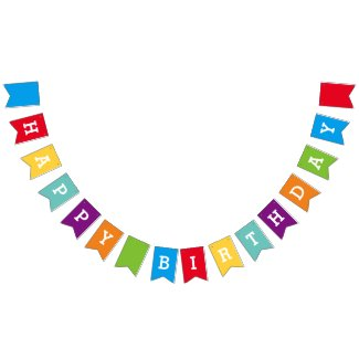 Custom Happy Birthday Party Bunting Banner Flags Bunting Flags