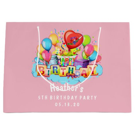 Custom Happy Birthday Personalized Pink Large Gift Bag