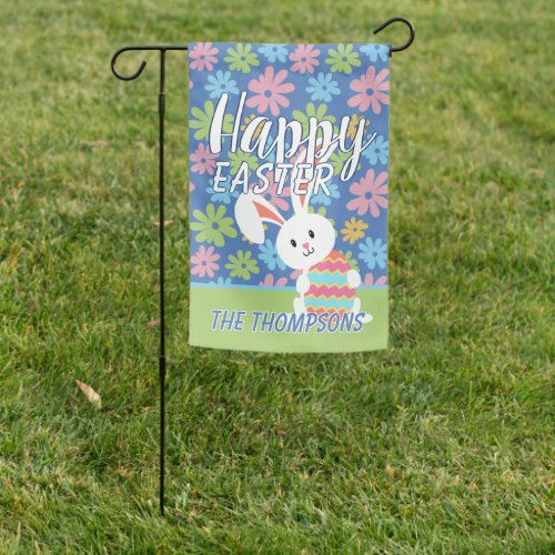 Custom Happy Easter Bunny Retro Floral Pattern Garden Flag