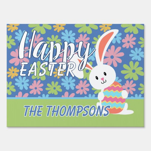 Custom Happy Easter Bunny Retro Floral Pattern Sign