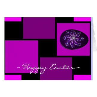Custom Happy Easter Purple Painted Russian Egg Stationery Note Card