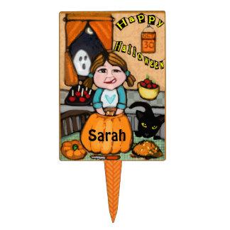 Custom Happy Halloween Pumpkin Cake Pick