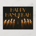 "Custom Happy Hanukkah Menorah Candle Invitation Postcard<br><div class=""desc"">Custom Happy Hanukkah Typography Menorah Lamp Burning Candles Candlelight Night Photography Background,  you can change or delete the text,  Postcard</div>"