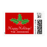 Custom Happy Holidays 34 cent Christmas stamps<br><div class='desc'>Custom Happy Holidays 34 cent Christmas stamps. Merry Christmas postage sticker sheet with Holly leaf and berries decoration. Elegant design for friends and family with personalized family name, seasons greetings or wishes. Red or custom color background. Personalizable with surname or funny quote. Stylish script typography. Available as 34 47 68...</div>