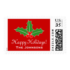 Custom Happy Holidays 34 Cent Christmas Stamps at Zazzle