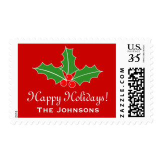 Custom Happy Holidays 34 cent Christmas stamps