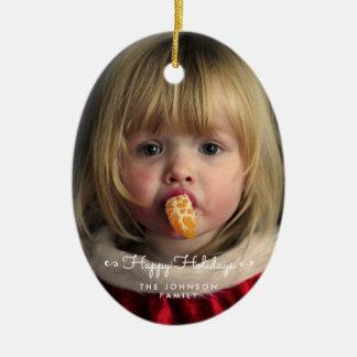 Custom Happy Holidays Oval Christmas Tree Ornament