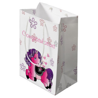 Custom happy little pink pony with hearts medium gift bag
