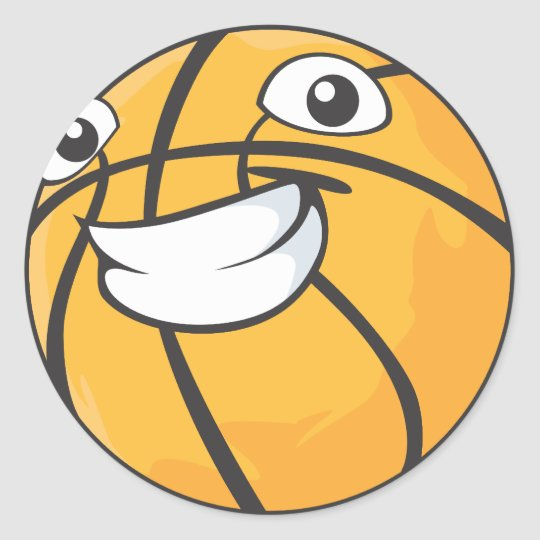 Custom Happy Smiling Basketball Classic Round Sticker