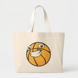 Custom Happy Smiling Basketball Large Tote Bag