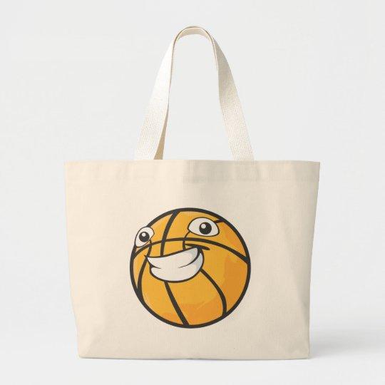 Custom Happy Smiling Basketball Large Tote Bag