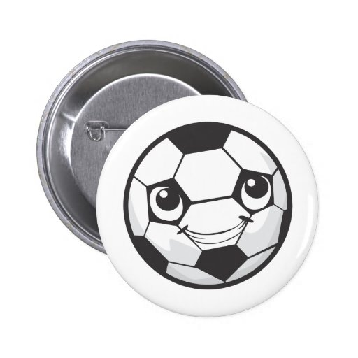 Custom Happy Smiling Soccer Ball Pinback Buttons