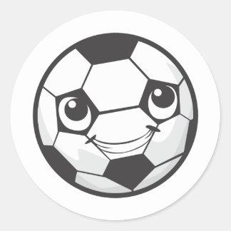 Custom Happy Smiling Soccer Ball Classic Round Sticker