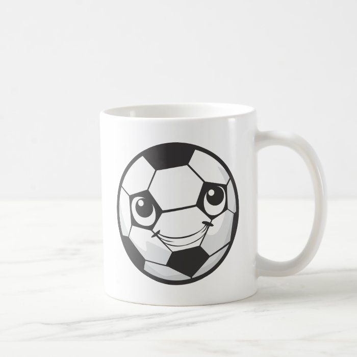 Custom Happy Smiling Soccer Ball Coffee Mug