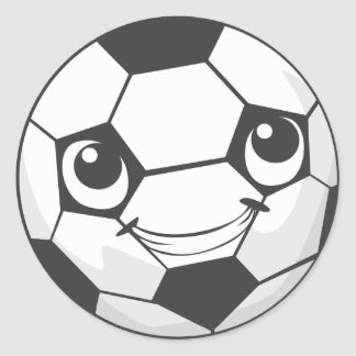 Custom Happy Smiling Soccer Ball Classic Round Sticker