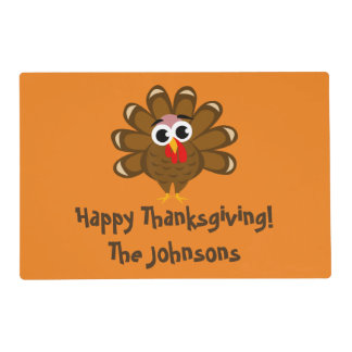 Custom Happy Thanksgiving Turkey Day dinner party Placemat