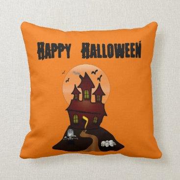 Beach Themed Custom Haunted House Halloween Pillow