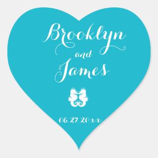 Custom Heart Blue White Seahorse Wedding Stickers