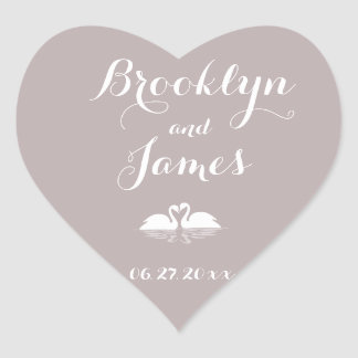 Custom Heart Elegant Grey Wedding Stickers Swans