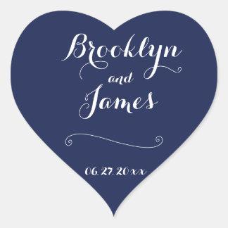 Custom Heart Navy Blue And White Wedding Stickers