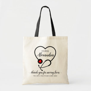 Personalized EKG Stethoscope Insulated NURSEDOCTOR Lunch ToteBag