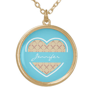 Custom Heart Torquoise Baseball Bat Pattern Gold Plated Necklace