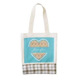 Custom Heart Torquoise Baseball Bat Pattern Zazzle HEART Tote Bag