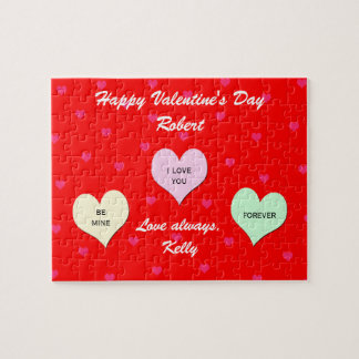 Custom Heart Valentine Jigsaw Puzzle Gift  in Tin
